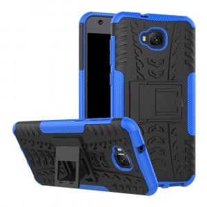 Противоударный двухкомпонентный силиконовый матовый непрозрачный чехол с поликарбонатными вставками экстрим защиты с встроенной ножкой-подставкой и текстурным покрытием Шина для ASUS ZenFone 4 Selfie Синий