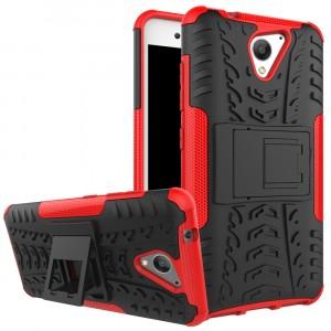 Противоударный двухкомпонентный силиконовый матовый непрозрачный чехол с поликарбонатными вставками экстрим защиты с встроенной ножкой-подставкой и текстурным покрытием Шина для ZTE Blade A510 Красный