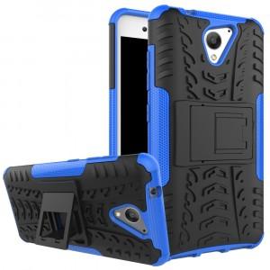 Противоударный двухкомпонентный силиконовый матовый непрозрачный чехол с поликарбонатными вставками экстрим защиты с встроенной ножкой-подставкой и текстурным покрытием Шина для ZTE Blade A510 Синий