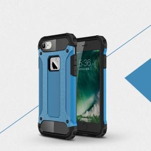 Двухкомпонентный силиконовый матовый непрозрачный чехол с поликарбонатными бампером и крышкой для Iphone 7/8 Голубой
