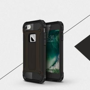 Двухкомпонентный силиконовый матовый непрозрачный чехол с поликарбонатными бампером и крышкой для Iphone 7/8 Черный