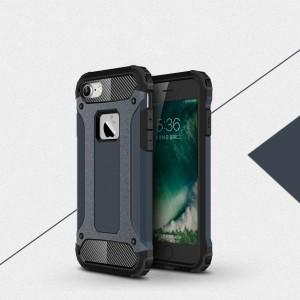 Двухкомпонентный силиконовый матовый непрозрачный чехол с поликарбонатными бампером и крышкой для Iphone 7/8 Синий