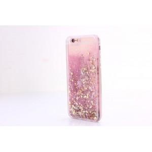Силиконовый глянцевый полупрозрачный чехол c внутренней аква-аппликацией для Iphone 7/8 Розовый