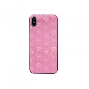 Силиконовый матовый непрозрачный чехол с co стеклянной накладкой и текстурным покрытием Узоры для Iphone X/XS Розовый