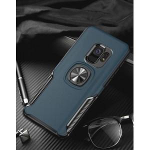 Двухкомпонентный силиконовый матовый непрозрачный чехол с нескользящими гранями, поликарбонатными бампером и крышкой, встроенным магнитным кольцом-подставкой и текстурным покрытием Кожа для Samsung Galaxy S9 Plus Синий
