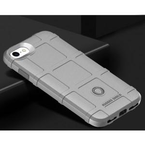 Силиконовый матовый непрозрачный чехол с текстурным покрытием Клетка для Iphone 7/8 Серый