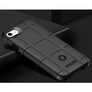 Силиконовый матовый непрозрачный чехол с текстурным покрытием Клетка для Iphone 7/8 Черный