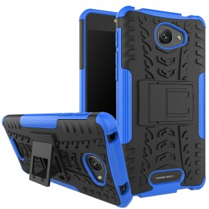 Противоударный двухкомпонентный силиконовый матовый непрозрачный чехол с поликарбонатными вставками экстрим защиты с встроенной ножкой-подставкой и текстурным покрытием Шина для Alcatel Pop 4S Синий