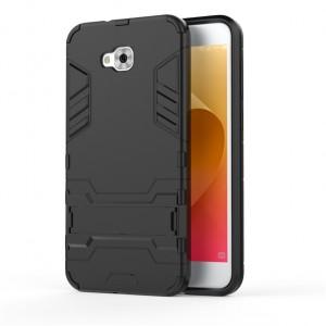Двухкомпонентный силиконовый матовый непрозрачный чехол с поликарбонатными бампером и крышкой и встроенной ножкой-подставкой для ASUS ZenFone 4 Selfie Черный