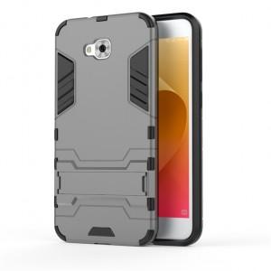 Двухкомпонентный силиконовый матовый непрозрачный чехол с поликарбонатными бампером и крышкой и встроенной ножкой-подставкой для ASUS ZenFone 4 Selfie Серый