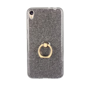 Силиконовый глянцевый транспарентный чехол с встроенным кольцом-подставкой и текстурным вкладышем Золото для Asus ZenFone Live Черный