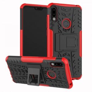 Противоударный двухкомпонентный силиконовый матовый непрозрачный чехол с нескользящими гранями и поликарбонатными вставками экстрим защиты с встроенной ножкой-подставкой для ASUS ZenFone Max Pro M2 Красный
