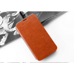 Глянцевый водоотталкивающий чехол горизонтальная книжка подставка на силиконовой основе для Alcatel Shine Lite Коричневый