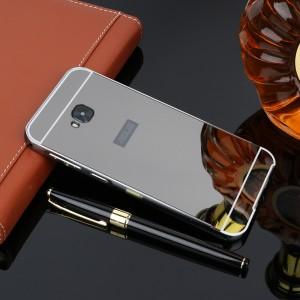 Двухкомпонентный чехол c металлическим бампером с поликарбонатной накладкой и зеркальным покрытием для ASUS ZenFone 4 Selfie Pro Черный