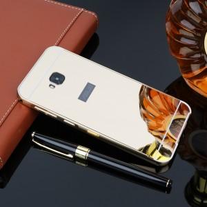Двухкомпонентный чехол c металлическим бампером с поликарбонатной накладкой и зеркальным покрытием для ASUS ZenFone 4 Selfie Pro Бежевый