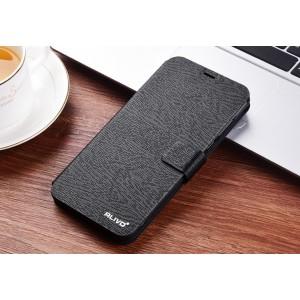 Чехол горизонтальная книжка подставка на силиконовой основе текстура Дерево на магнитной защелке для Huawei Honor 9 Lite Черный