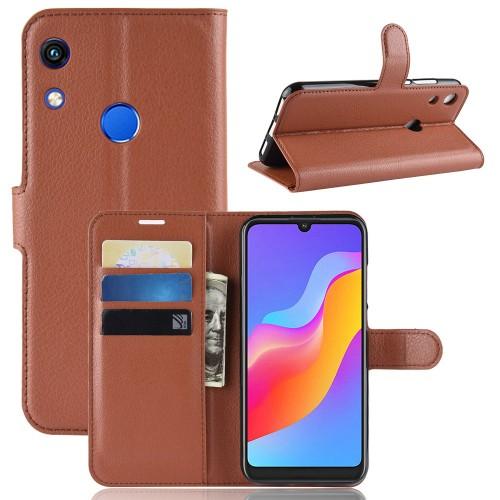 Чехол портмоне подставка на силиконовой основе с отсеком для карт на магнитной защелке для Huawei Y6 (2019)/Honor 8A Коричневый