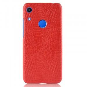 Пластиковый непрозрачный матовый чехол с текстурным покрытием Крокодил для Huawei Y6 (2019)/Honor 8A Красный