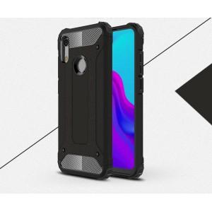 Противоударный двухкомпонентный силиконовый матовый непрозрачный чехол с поликарбонатными вставками экстрим защиты для Huawei Y6 (2019)/Honor 8A