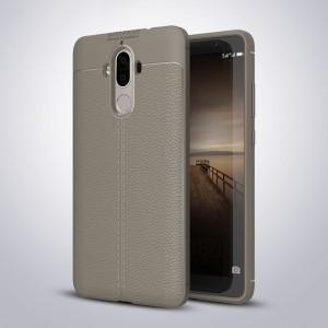 Силиконовый матовый непрозрачный чехол с текстурным покрытием Кожа для Huawei Mate 9 Коричневый