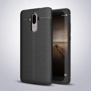 Силиконовый матовый непрозрачный чехол с текстурным покрытием Кожа для Huawei Mate 9 Черный