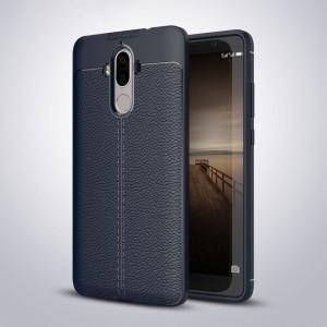 Силиконовый матовый непрозрачный чехол с текстурным покрытием Кожа для Huawei Mate 9 Синий