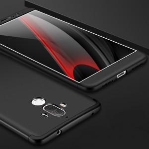 Двухкомпонентный сборный пластиковый матовый чехол для Huawei Mate 9 Черный