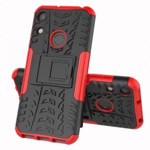 Противоударный двухкомпонентный силиконовый матовый непрозрачный чехол с нескользящими гранями и поликарбонатными вставками экстрим защиты с встроенной ножкой-подставкой для Huawei Y6 (2019)  Красный