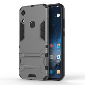 Противоударный двухкомпонентный силиконовый матовый непрозрачный чехол с поликарбонатными вставками экстрим защиты с встроенной ножкой-подставкой для Huawei Y6 (2019)/Honor 8A Серый