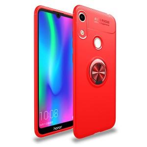 Силиконовый матовый непрозрачный чехол с встроенным кольцом-подставкой для Huawei Y6 (2019)/Honor 8A Красный