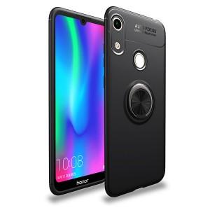 Силиконовый матовый непрозрачный чехол с встроенным кольцом-подставкой для Huawei Y6 (2019)/Honor 8A Черный