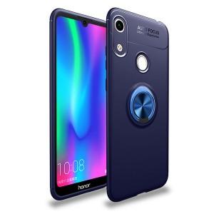 Силиконовый матовый непрозрачный чехол с встроенным кольцом-подставкой для Huawei Y6 (2019)/Honor 8A Синий