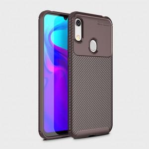 Силиконовый матовый непрозрачный чехол с текстурным покрытием Карбон для Huawei Y6 (2019)/Honor 8A Бордовый