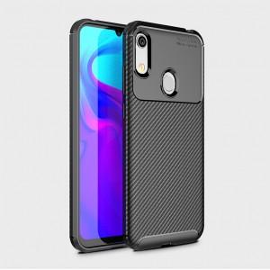 Силиконовый матовый непрозрачный чехол с текстурным покрытием Карбон для Huawei Y6 (2019)/Honor 8A Черный