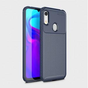 Силиконовый матовый непрозрачный чехол с текстурным покрытием Карбон для Huawei Y6 (2019)/Honor 8A Синий