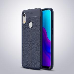 Силиконовый матовый непрозрачный чехол с текстурным покрытием Кожа для Huawei Y6 (2019)/Honor 8A Синий