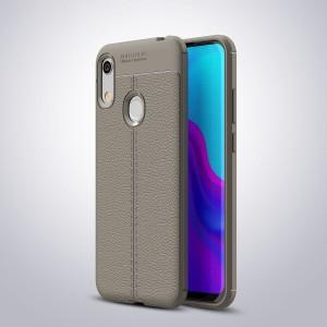 Силиконовый матовый непрозрачный чехол с текстурным покрытием Кожа для Huawei Y6 (2019)/Honor 8A Серый