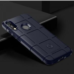 Силиконовый матовый непрозрачный чехол с текстурным покрытием Клетка для Huawei Y6 (2019)/Honor 8A Синий