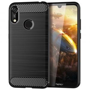 Силиконовый матовый непрозрачный чехол с текстурным покрытием Металлик для Huawei Y6 (2019)/Honor 8A Черный