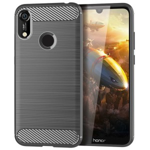 Силиконовый матовый непрозрачный чехол с текстурным покрытием Металлик для Huawei Y6 (2019)/Honor 8A Серый