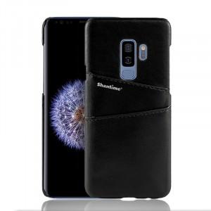 Чехол накладка текстурная отделка Кожа с отсеком для карт для Samsung Galaxy S9 Plus Черный