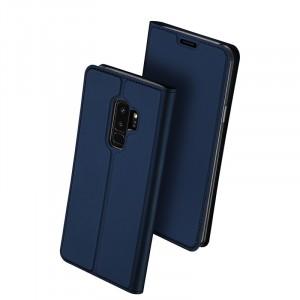 Глянцевый водоотталкивающий чехол флип подставка на силиконовой основе с отсеком для карт для Samsung Galaxy S9 Plus Синий