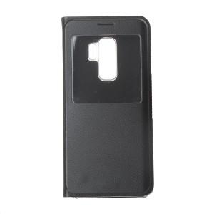 Чехол флип на пластиковой основе с окном вызова для Samsung Galaxy S9 Plus Черный