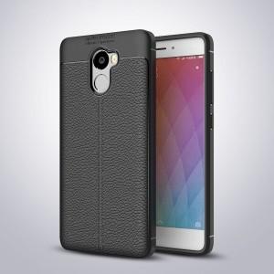 Силиконовый матовый непрозрачный чехол с текстурным покрытием Кожа для Xiaomi RedMi 4 Черный
