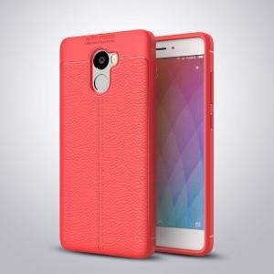 Силиконовый матовый непрозрачный чехол с текстурным покрытием Кожа для Xiaomi RedMi 4 Красный