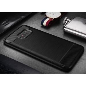 Силиконовый матовый непрозрачный чехол с текстурным покрытием Металлик для Samsung Galaxy S7 Черный