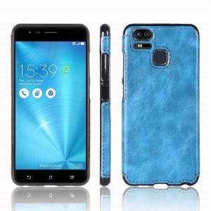 Силиконовый матовый непрозрачный чехол с текстурным покрытием Кожа для Asus ZenFone 3 Zoom Синий