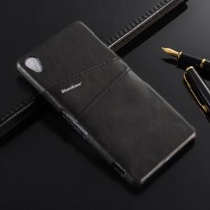 Чехол накладка текстурная отделка Кожа с отсеком для карт для Sony Xperia Z1 Черный