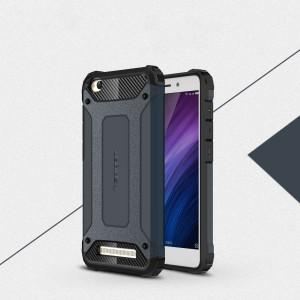 Двухкомпонентный силиконовый матовый непрозрачный чехол с поликарбонатными бампером и крышкой для Xiaomi RedMi 4A Синий
