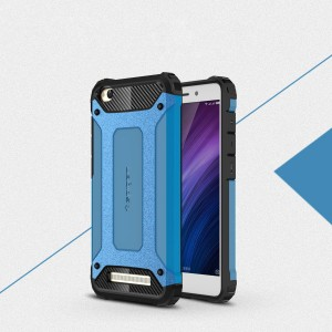 Двухкомпонентный силиконовый матовый непрозрачный чехол с поликарбонатными бампером и крышкой для Xiaomi RedMi 4A Голубой